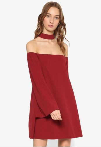 圍脖露esprit 尖沙咀肩寬擺長袖連身裙, 服飾, 洋裝