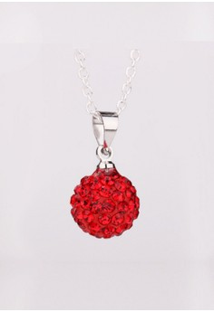 925 Silver Plated Red Ball Necklace