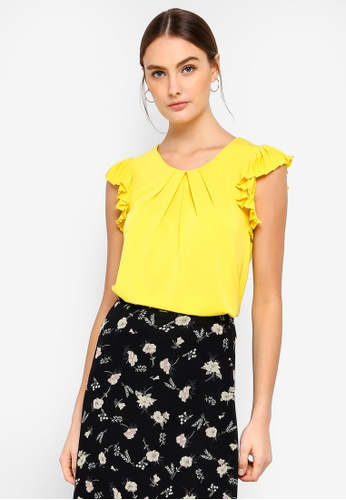 FORCAST yellow Rhea Pleated Sleeve Top EB0E6AA719CE41GS_1