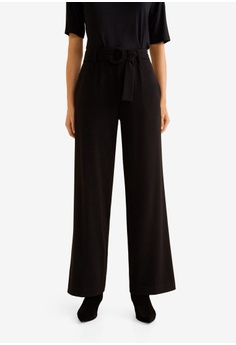 f23f7589cd4 Mango black Belt Palazzo Trousers D4DA6AA13573FEGS 1