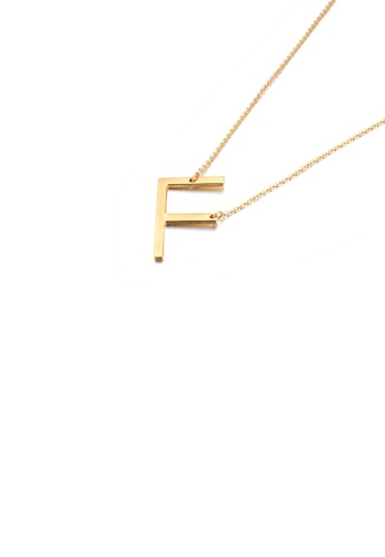 Glamorousky silver Simple and Fashion Plated Gold English Alphabet F 316L Stainless Steel Pendant with Necklace 866A3AC4C6E72FGS_1