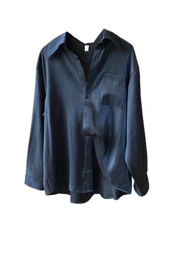 Twenty Eight Shoes navy VANSA Shiny Satin Long Sleeve Shirts  VCW-Sh0301 29279AA63D65C6GS_1