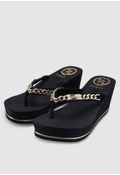 e684fb974b40 Guess Sirene Chain Logo Wedge Flip Flops S  89.00. Sizes 5 6 7 8 10