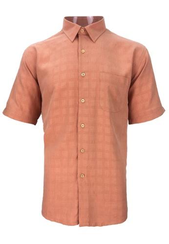 Pacolino orange Pacolino - Checker Formal Casual Short Sleeve Men Shirt 402C7AAA85BA43GS_1