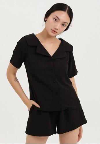 Cloth Inc black Wide Collar Shirt in Black 29C4FAA69C7547GS_1