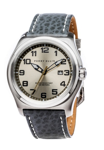 PERRY ELLIS grey and silver Perry Ellis Memphis Men 44mm Quartz Watch 04006-01 A78EFAC365B7B9GS_1