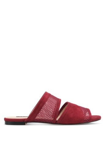 ZALORA red Mixed Material Flats 11479SH94DAB5EGS_1