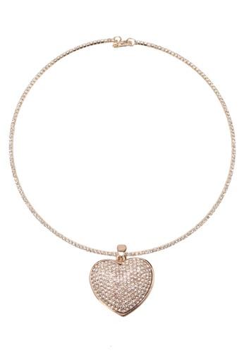 水鑽心形吊飾鎖骨鍊esprit 品牌, 飾品配件, 項鍊