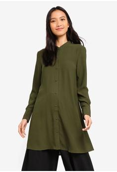 721069323d8b6 ZALORA green Long Line Button Down Shirt E5D92AA2EC48B2GS 1