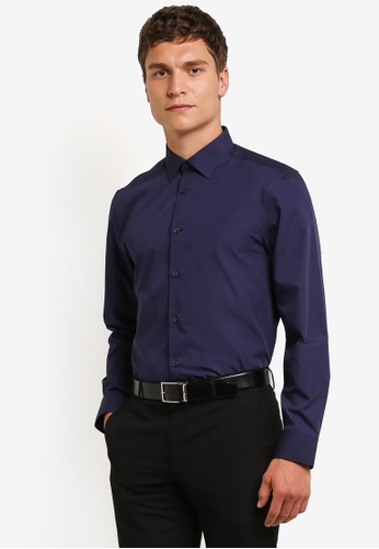 Burton Menswear London navy Navy Tailored Fit Easy Iron Shirt BU964AA0RM6NMY_1