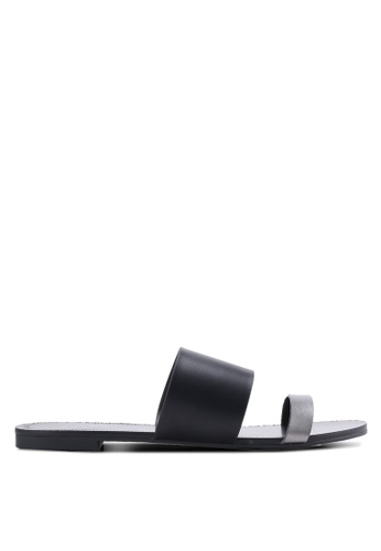 ZALORA black Two Tone Double Strap Sliders 160A2SHBEEEF72GS_1
