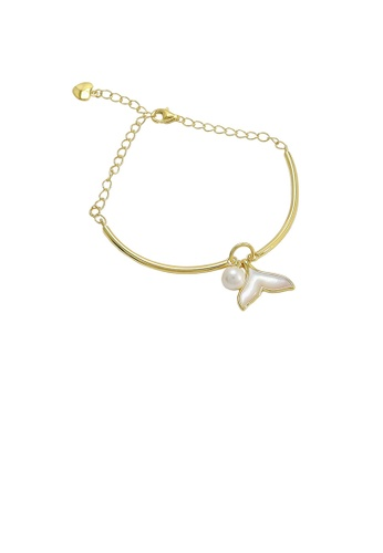 Glamorousky white 925 Sterling Silver Plated Gold Fashion Simple Fishtail White Freshwater Pearl Bracelet 3CA26AC0FFA676GS_1