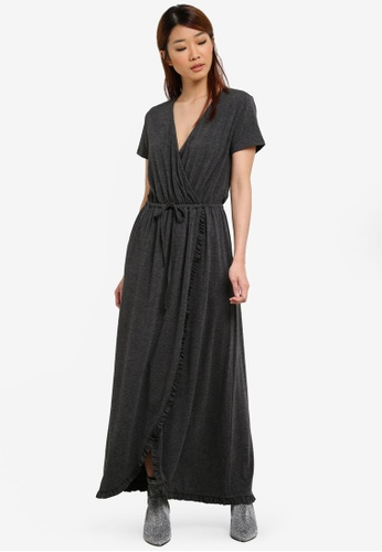 Something Borrowed grey Relaxed Wrap Maxi Dress With Ruffles A710CAAEED8BF6GS_1