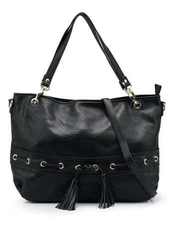 Mel&Co black Faux Leather Drawstring Shopper Bag 73F75AC45BF9E5GS_1