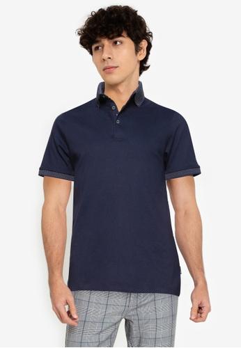Burton Menswear London 海軍藍色 海軍藍 提花 Collar Polo 襯衫 DFDC0AAF91AB11GS_1
