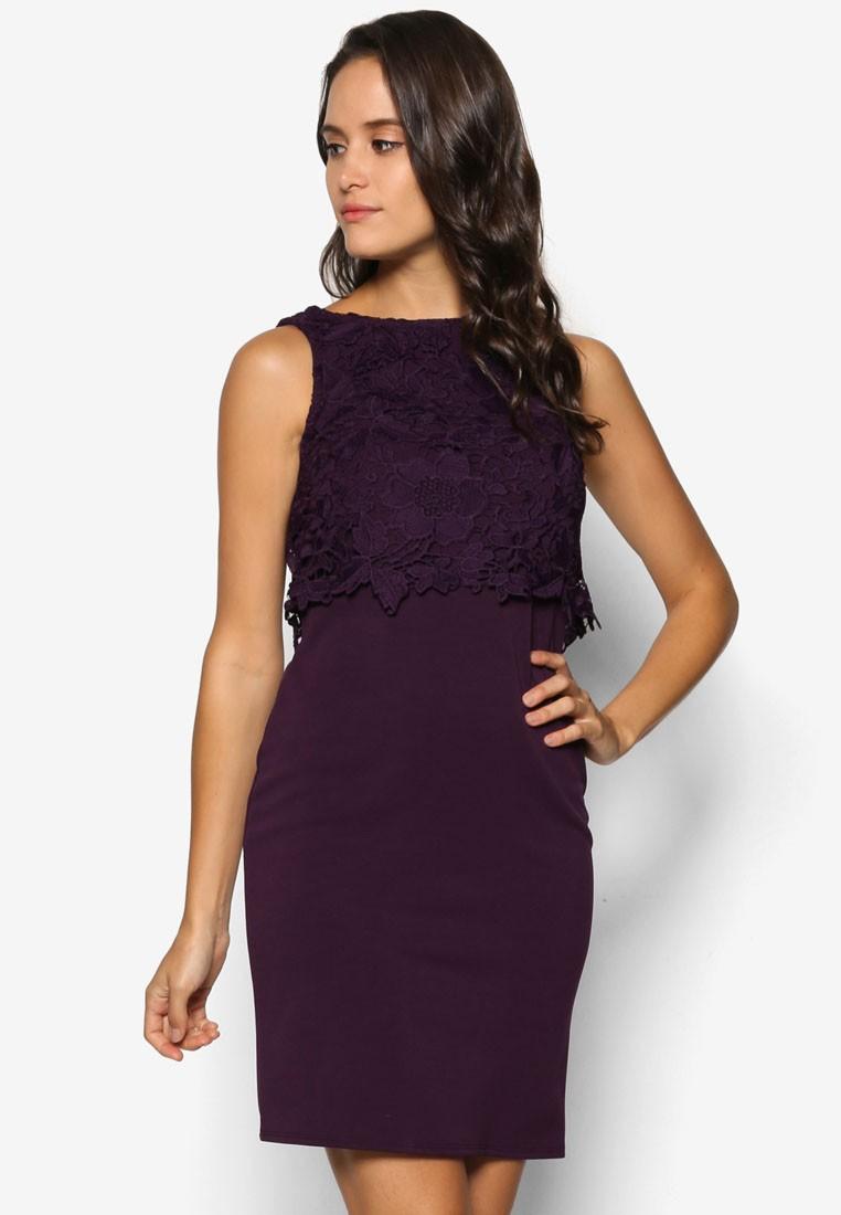 Petite Purple Crochet Dress