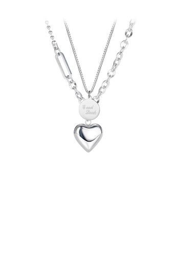 Glamorousky silver Simple and Fashion Heart-shaped 316L Stainless Steel Pendant with Double-layer Necklace 77014AC73E92BFGS_1