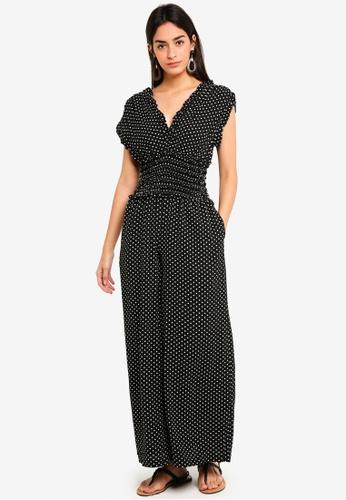 Max Studio black Woven Sleeve Shirred Waist Jumpsuit 5E1A9AA321AA6AGS_1