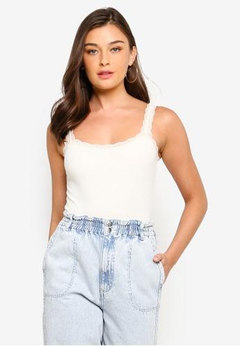 TOPSHOP white Cream Lace Trim Bodysuit EACC1AAB93FBC3GS_1