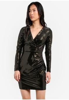 Image of Long Sleeve Brooke Mirror Metallic Bodycon Dress