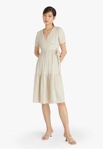 Pomelo beige Tiered Surplice Dress - Cream D5E61AAC27F56FGS_1