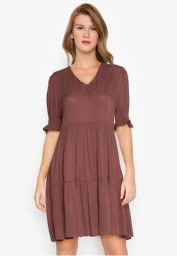 ZALORA BASICS brown V-Neck Babydoll Dress 04B43AA6ACAB49GS_1