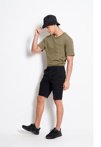 Hi Style black Cotton Cargo Short Pants 49094AA47A3F52GS_1