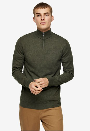 Topman brown Considered Khaki Turtle Zip Knitted Jumper C2474AAEB9BFC6GS_1