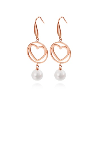 Glamorousky white Simple and Romantic Plated Rose Gold Round Hollow Heart-shaped 316L Stainless Steel Earrings with Imitation Pearls 3BC7CAC736E75EGS_1