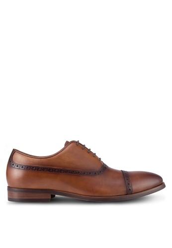 Dune London brown Promise Punch Hole Detail Oxford Shoes DU588SH93UDMMY_1