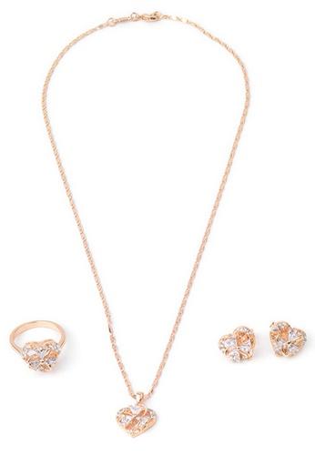 Jewelplace gold Heart Diamond 4 in 1 Cubic Zircon Jewelry Set JE882AC24NNNPH_1