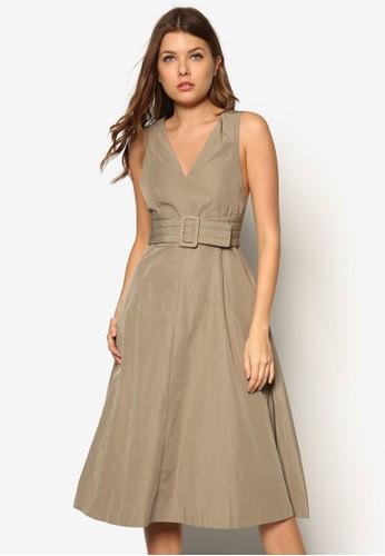 Delverton 腰帶肩帶連身裙,zalora是哪裡的牌子 服飾, 服飾