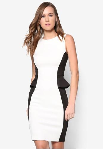 拼色腰飾緊身洋裝, 服zalora 評價飾, 洋裝