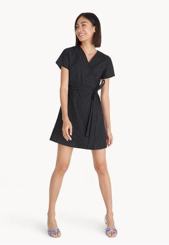 Pomelo black Mini Polka Dot Wrap Dress - Black 797FEAA5B2BC4FGS_1