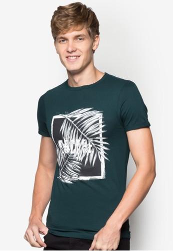 棕zalora 包包 ptt櫚樹印花文字T 恤, 服飾, 印圖T恤