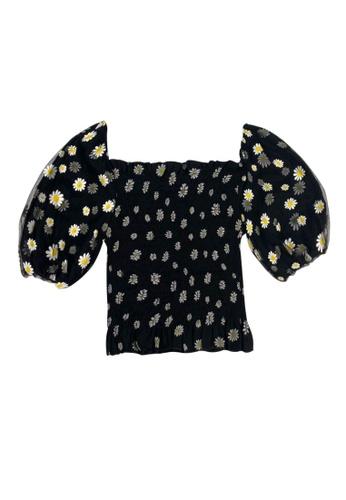 DRUM black Daisy Print Puff Sleeve Top- Black 67C01AAD2CB9A1GS_1