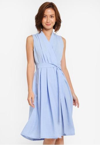 ZALORA blue Wrapped Midi Dress with Pleats F0F17AAE56B8D2GS_1