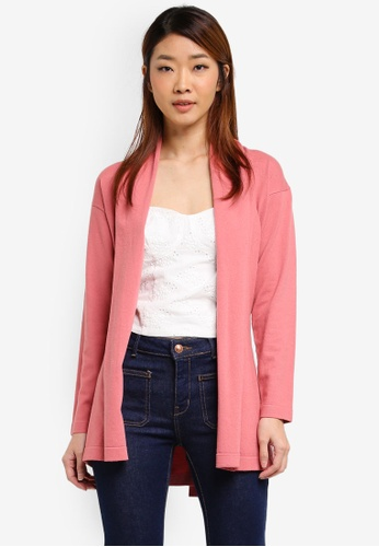 ZALORA pink Draped Collar Cardigan 19B55AA967BFD7GS_1