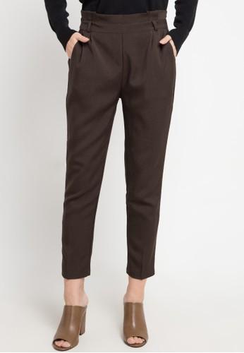 MEITAVI'S brown Pleated Waist Tapered Pants 81370AAD60D8A8GS_1