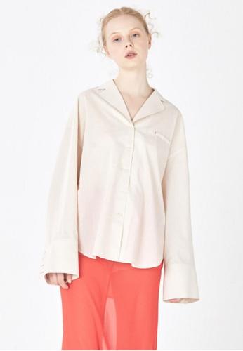 wnderkammer beige Pajama Boxy Shirt WN055AA81RLESG_1
