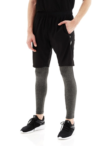 Life8 black Sport BreathableFunction Multi-Material Stitch Look Shorts-14029-Black 55792AACEC5105GS_1