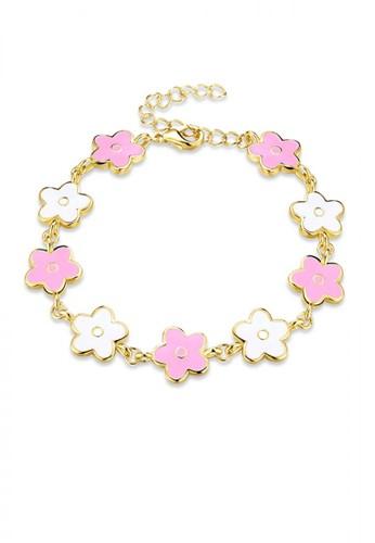 Glamorousky silver Elegant Fashion Pink Flower Bracelet 3803FACB0EB2A1GS_1