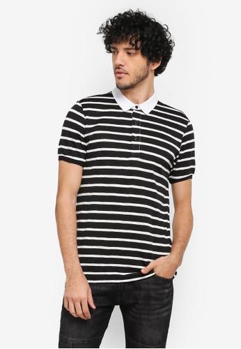 ZALORA black Stripe Polo Shirt With Oxford Collar E3779AA94E856BGS_1