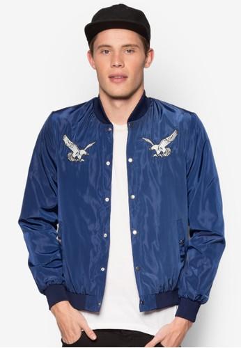 繡花拼貼esprit台灣門市綢緞棒球外套, 服飾, 輕薄外套