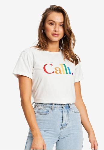 Calli white Rainbow Embroidered T-Shirt B2FE0AAA62DC4EGS_1