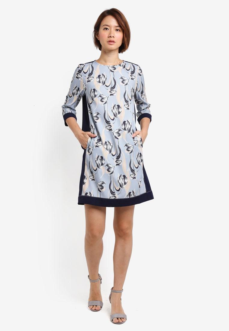 Border Contrast Blue ZALORA Dress Print Shift Greyish vnnPOwqU4