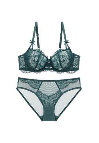 W.Excellence green Premium Green Lace Lingerie Set (Bra and Underwear) 9D80AUS8A126EDGS_1