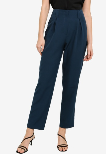 ZALORA WORK green Pleat Detail Long Pants 5DE09AAE6FD51AGS_1