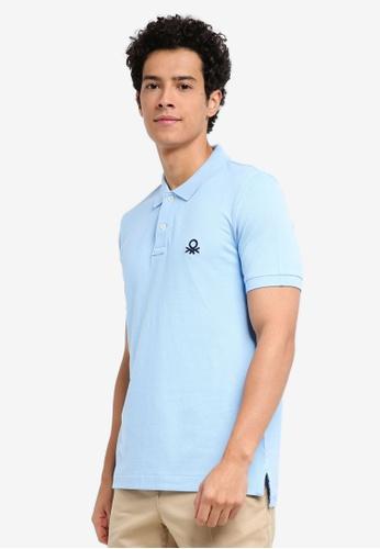United Colors of Benetton 藍色 基本款Logo Polo衫 840F4AA6E5F525GS_1