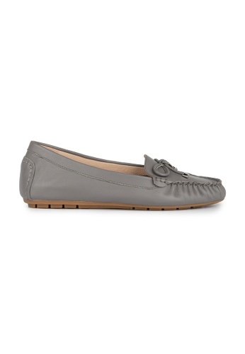 MAUD FRIZON grey Leather Moccasin Loafer With Knotted Bow 9BE54SH5A67FBBGS_1